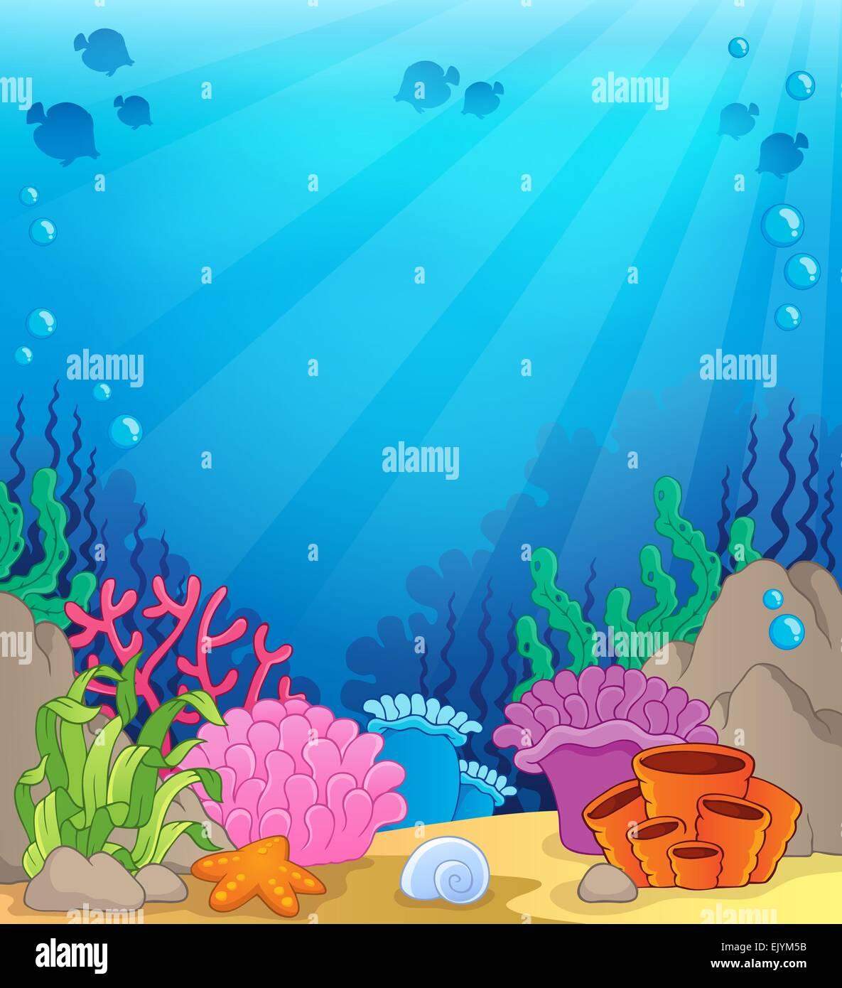 Ocean underwater theme background 4 - picture illustration ...