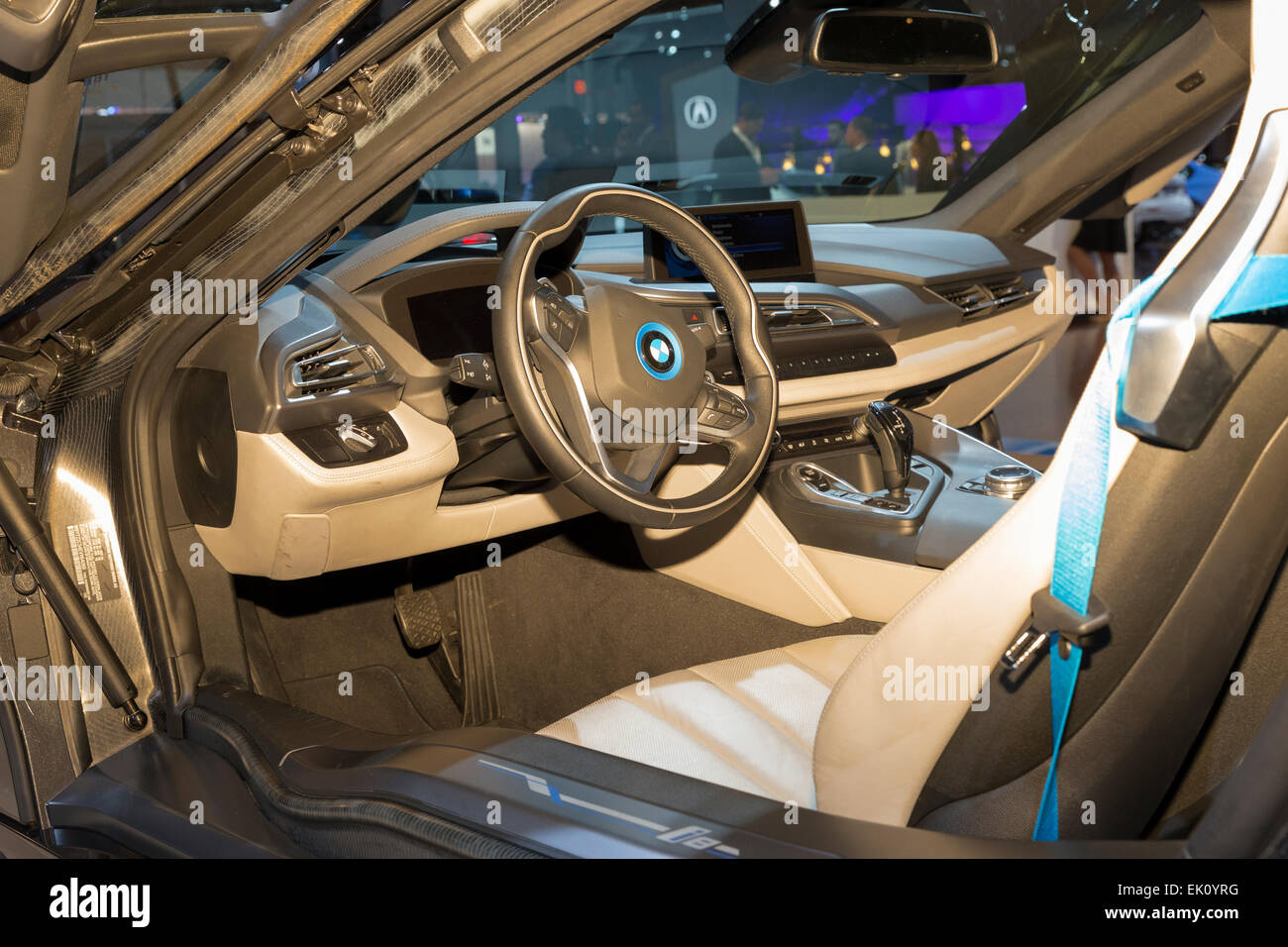 new york ny april 2 2015 interior of bmw i8 best green car of stock photo royalty free. Black Bedroom Furniture Sets. Home Design Ideas