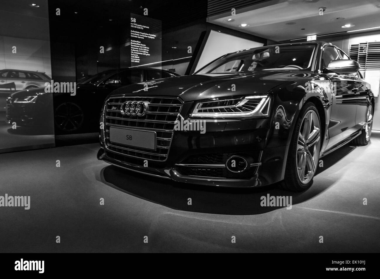 berlin march 08 2015 showroom full size luxury car audi s8 stock photo royalty free image. Black Bedroom Furniture Sets. Home Design Ideas