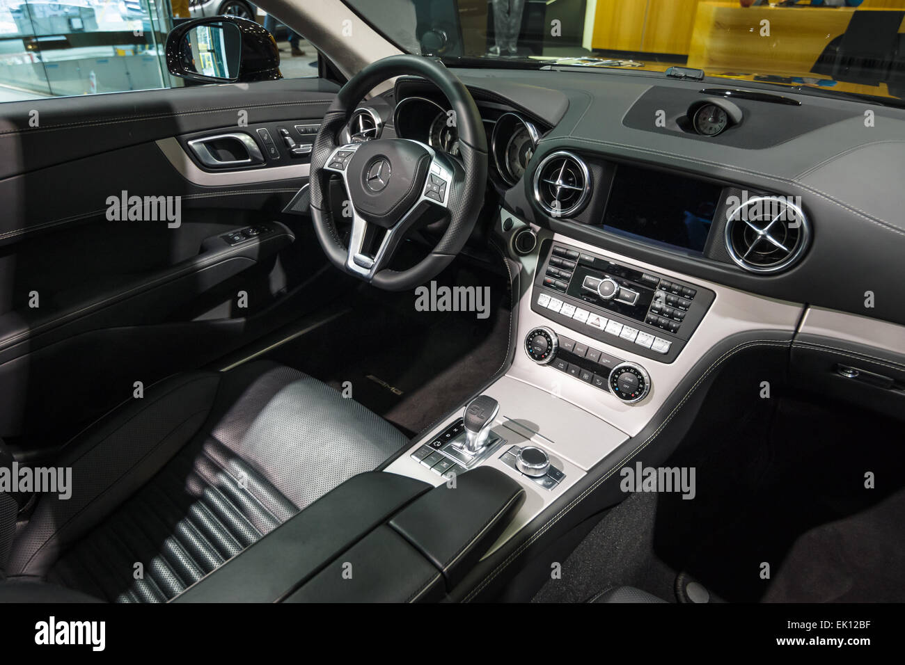 berlin january 24 2015 cabin of a sports car mercedes benz sl500 stock photo royalty free. Black Bedroom Furniture Sets. Home Design Ideas