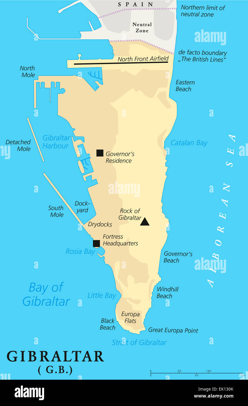 Gibraltar Political Map of the British Oversea Territory English