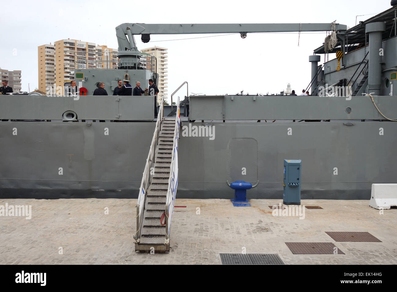 Gangway Up To Spanish Navy Vessel Moored In The Port Of
