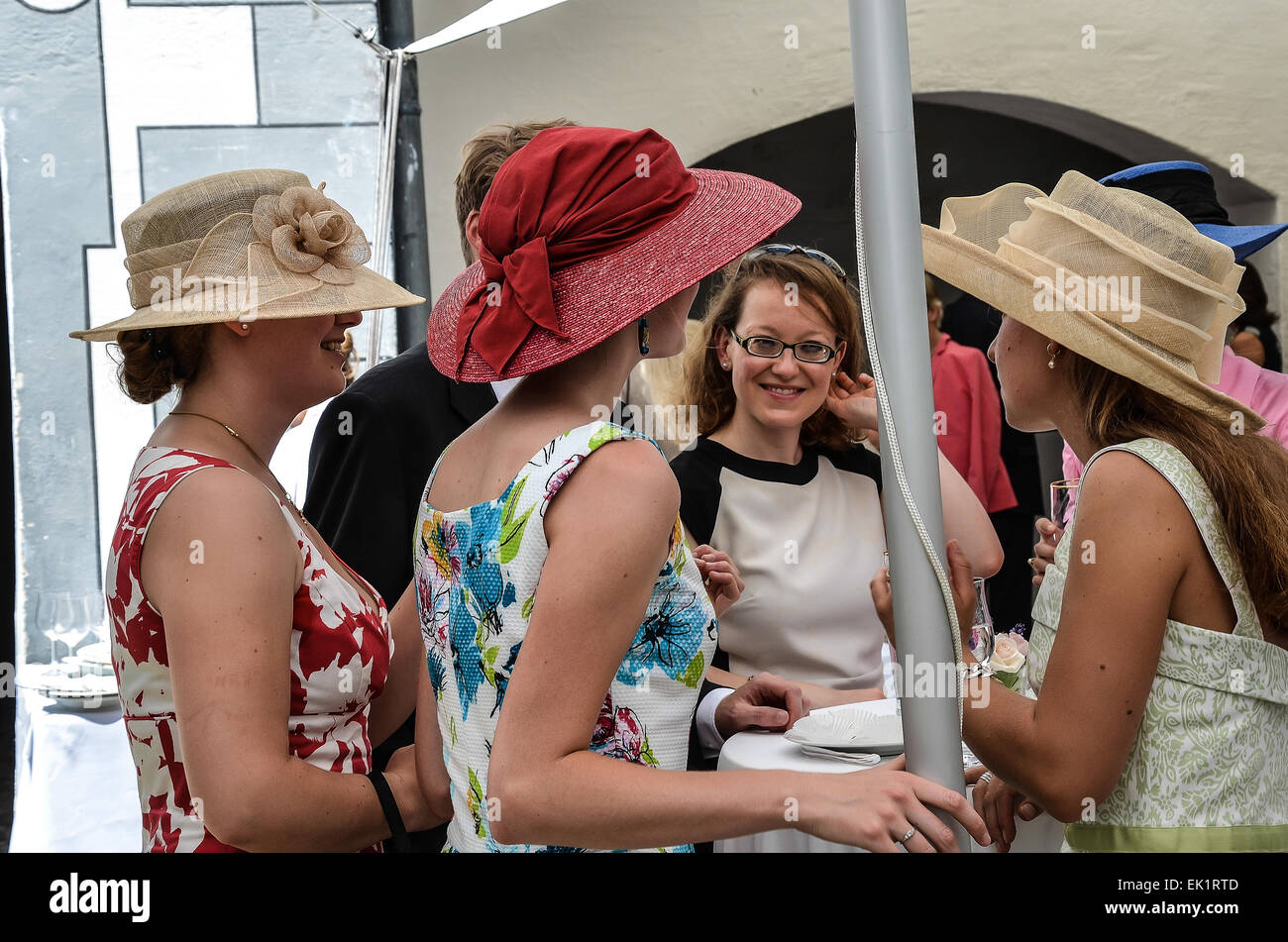 Wedding After Ceremony Party Outdoors Guests Dress Colourful Hats Fancy