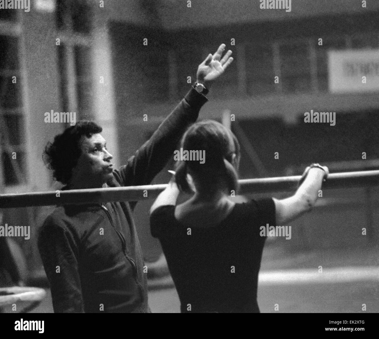 olympic champion soviet gymnast of belorussia olga korbut and her coach