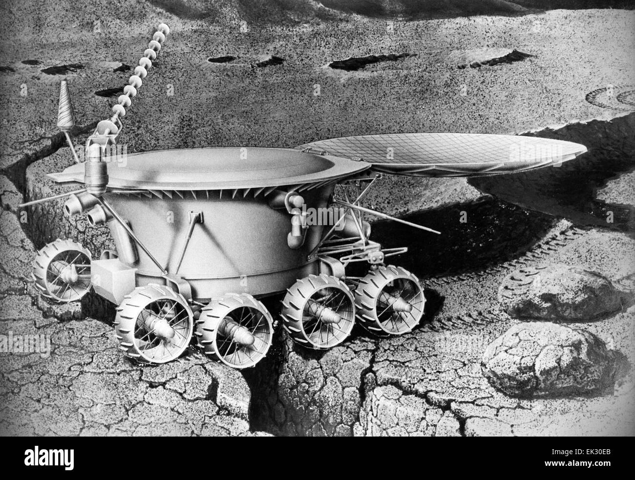 Lunokhod-1, unmanned lunar rover, on the Moon drawing ...