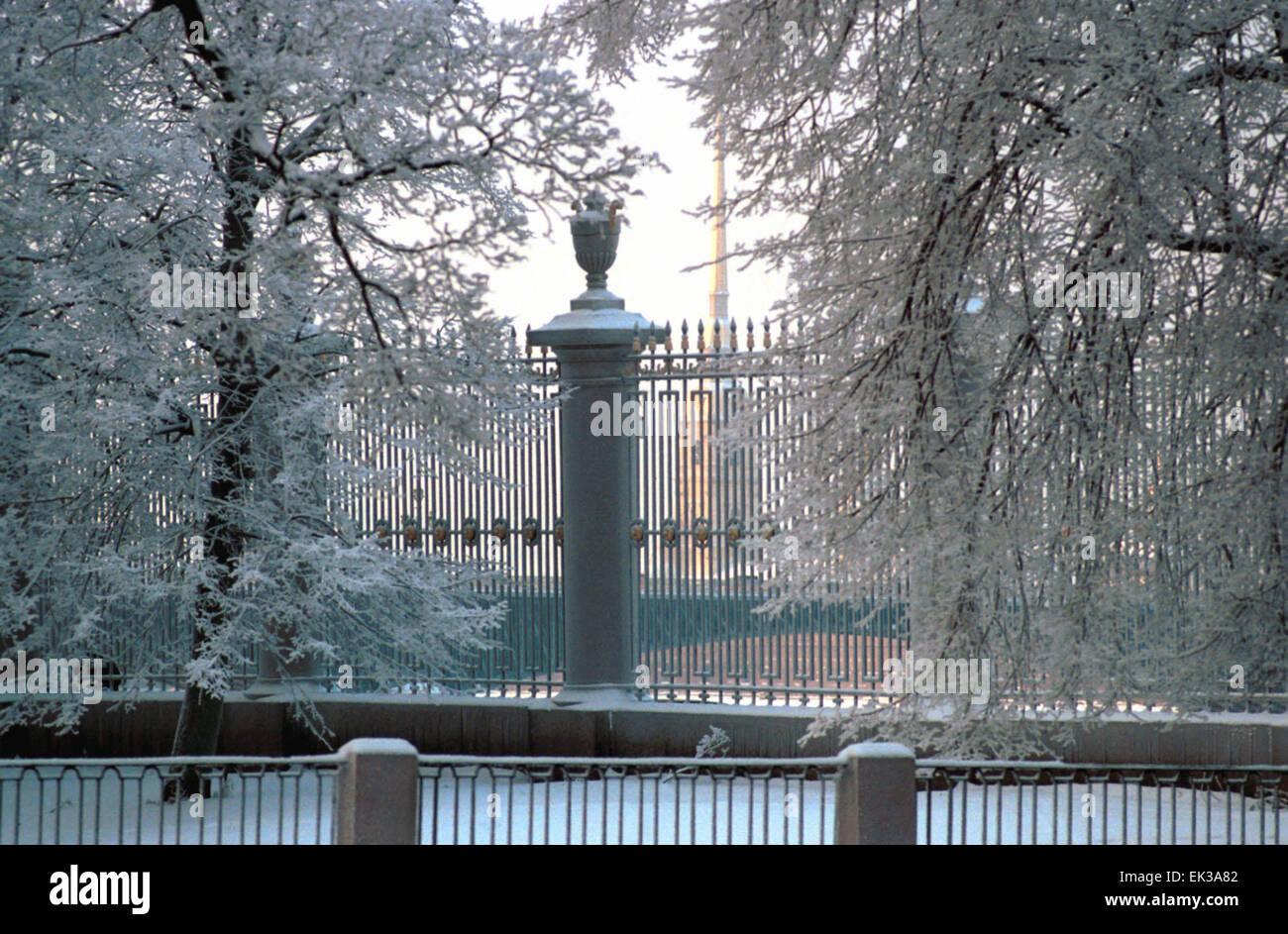 st petersburg russia the summer garden in winter stock photo