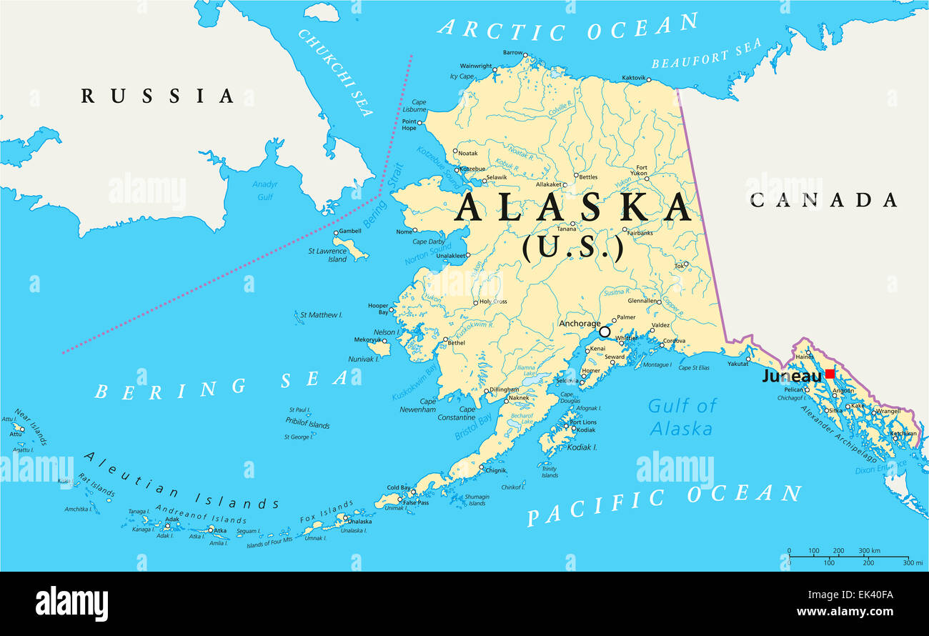Alaska Political Map With Capital Juneau US State In The - Us alaska map