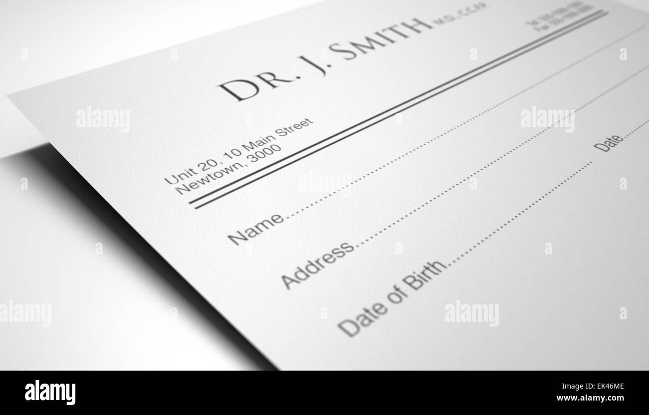 A blank generic doctors prescription note on an isolated white ...