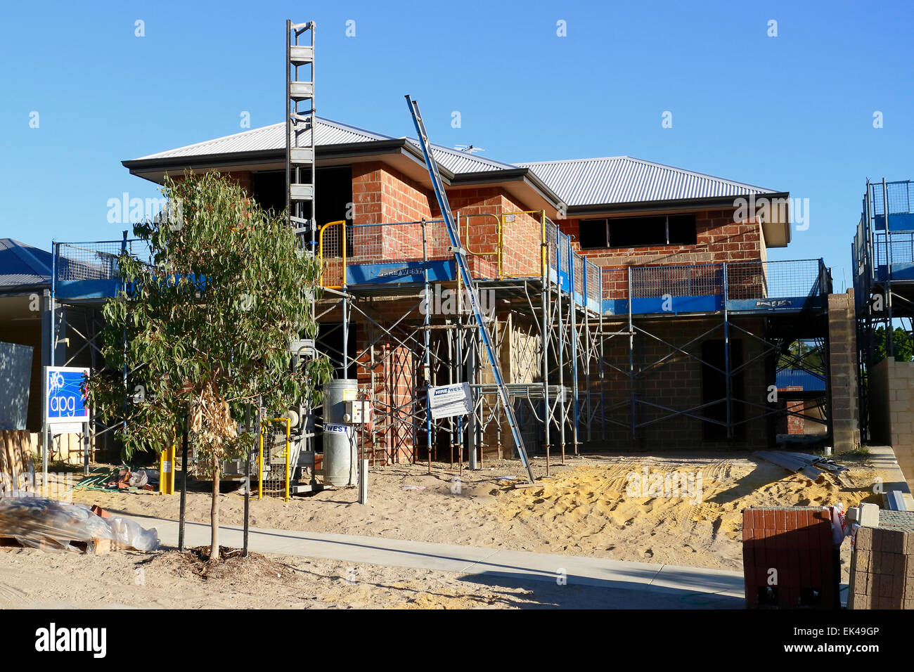 new two storey house being built in the suburbs of perth western