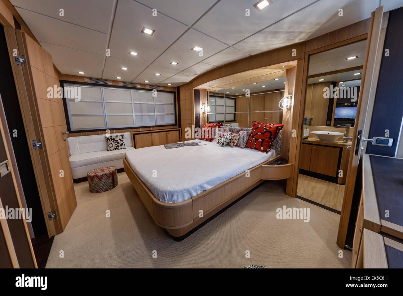Italy Naples Abacus 70 Luxury Yacht Master Bedroom Stock Photo Royalty Free Image 80639345