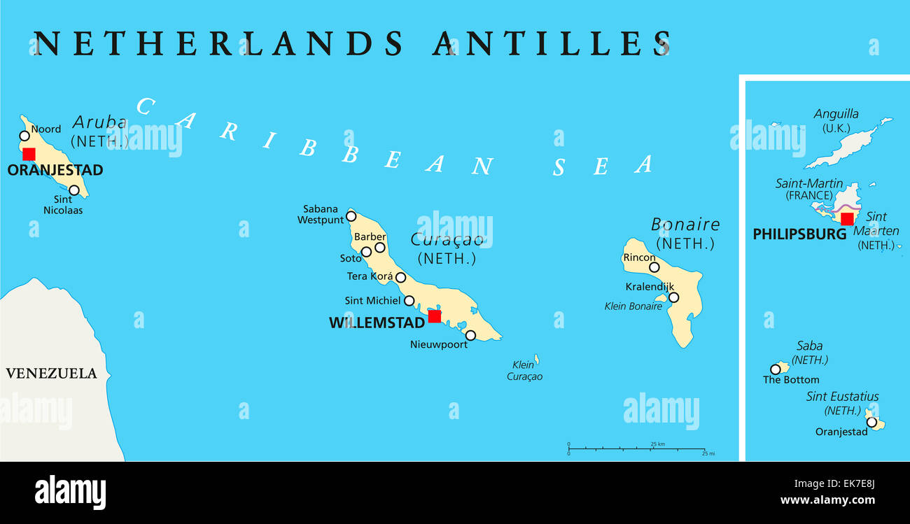 Netherlands Antilles Political Map Stock Photo Royalty Free Image