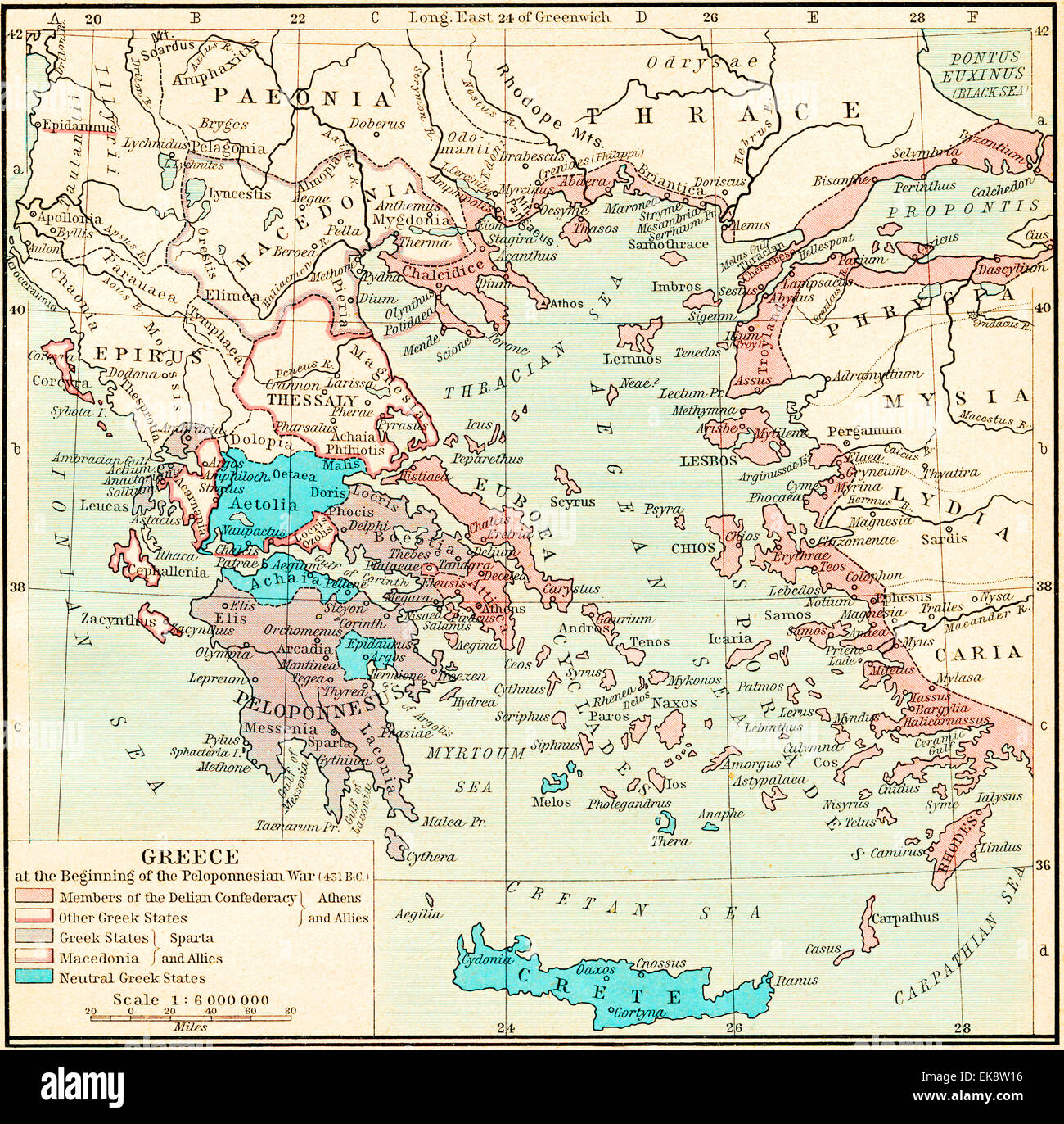Map of Greece at the beginning of the Peloponnesian War, 431 B.C ...