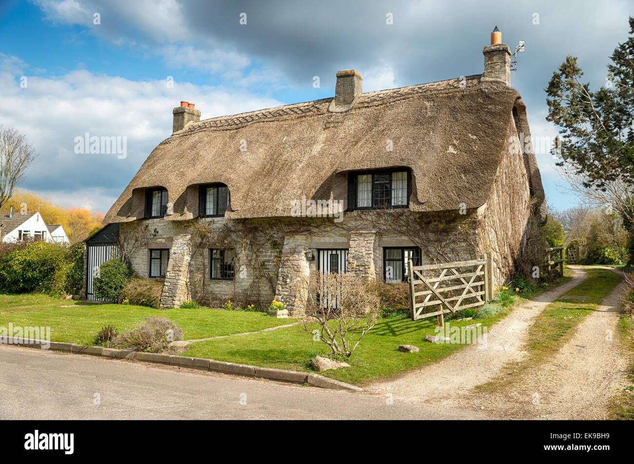 Beautiful thatched cottage at corfe castle village on the purbeck stock photo royalty free - The thatched cottage ...