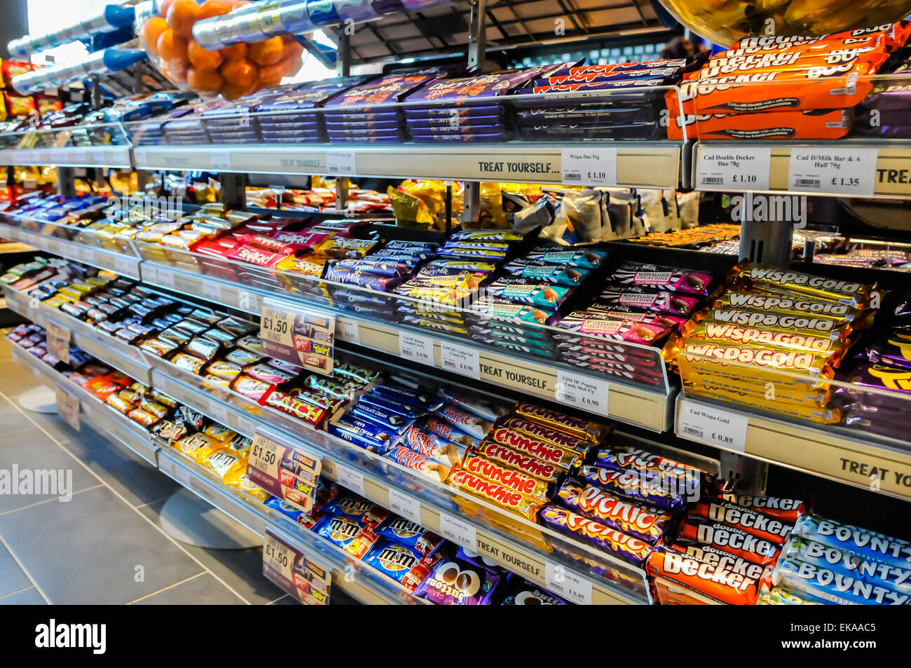 Sweets and chocolate bars on sale in a motorway service station ...