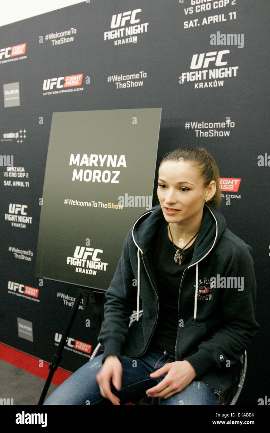 krakow th apr maryna iron lady moroz answers maryna iron lady moroz answers questions during an interview at a media day ahead of ufc fight night gonzaga vs cro cop 2 at tauron arena during