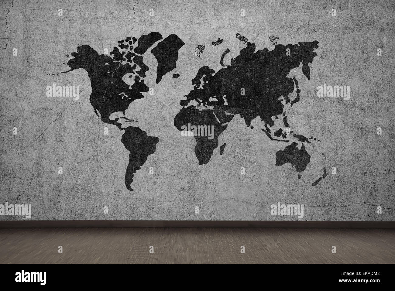 Drawing world map on gray concrete wall stock photo 80750210 alamy drawing world map on gray concrete wall gumiabroncs Images