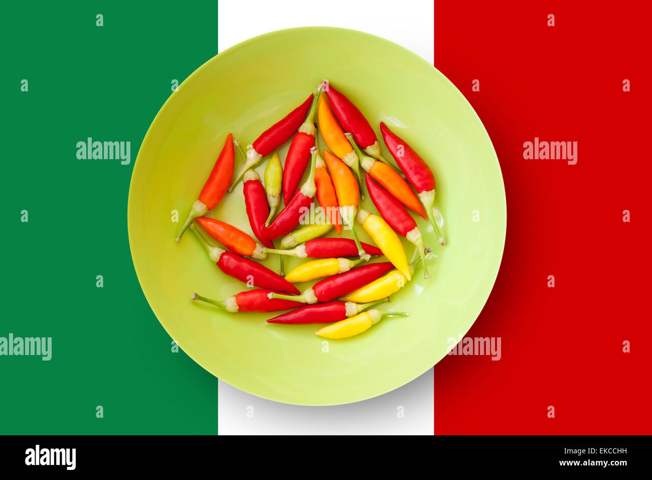 colorful chili peppers plate with mexico flag stock photo royalty