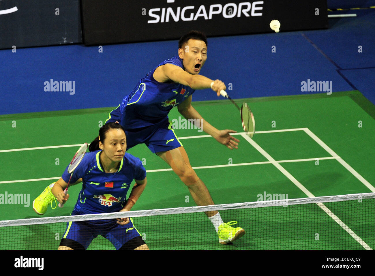 Singapore 9th Apr 2015 Zhang Nan rear Zhao Yunlei of China