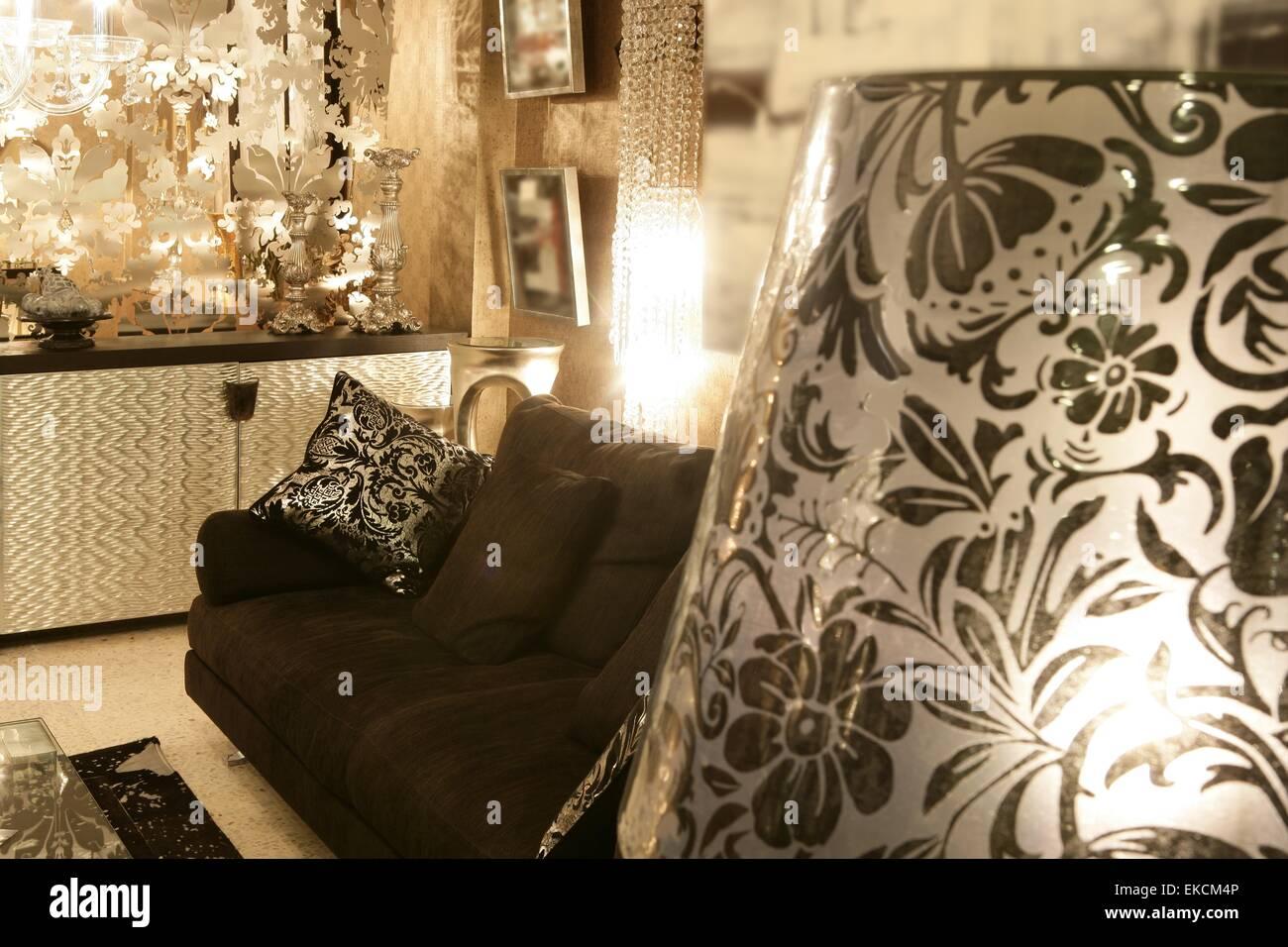 Living Room Coach Black Sofa Silver Furniture