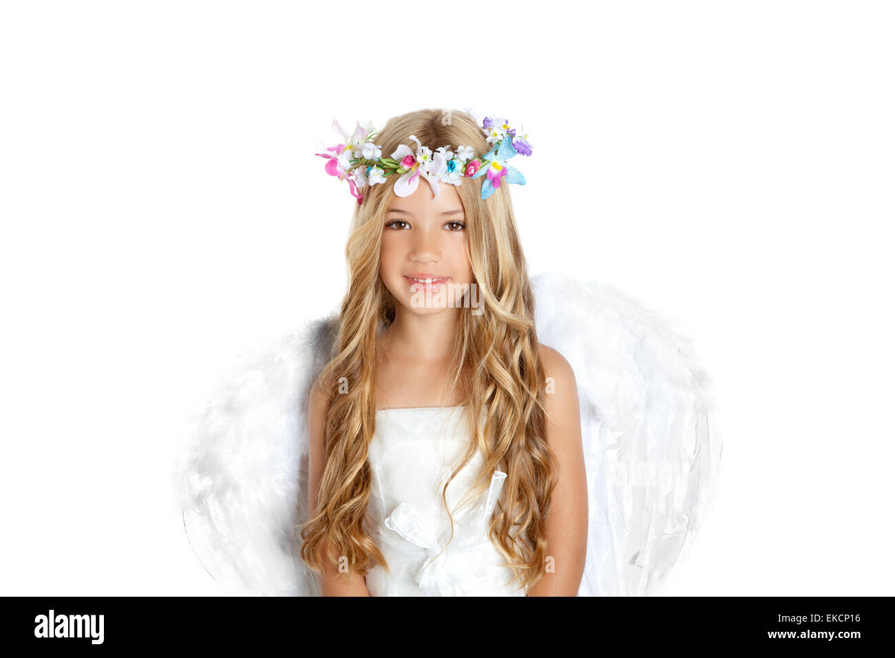 Angel little girl with wings and children flowers crown stock photo angel little girl with wings and children flowers crown izmirmasajfo Gallery