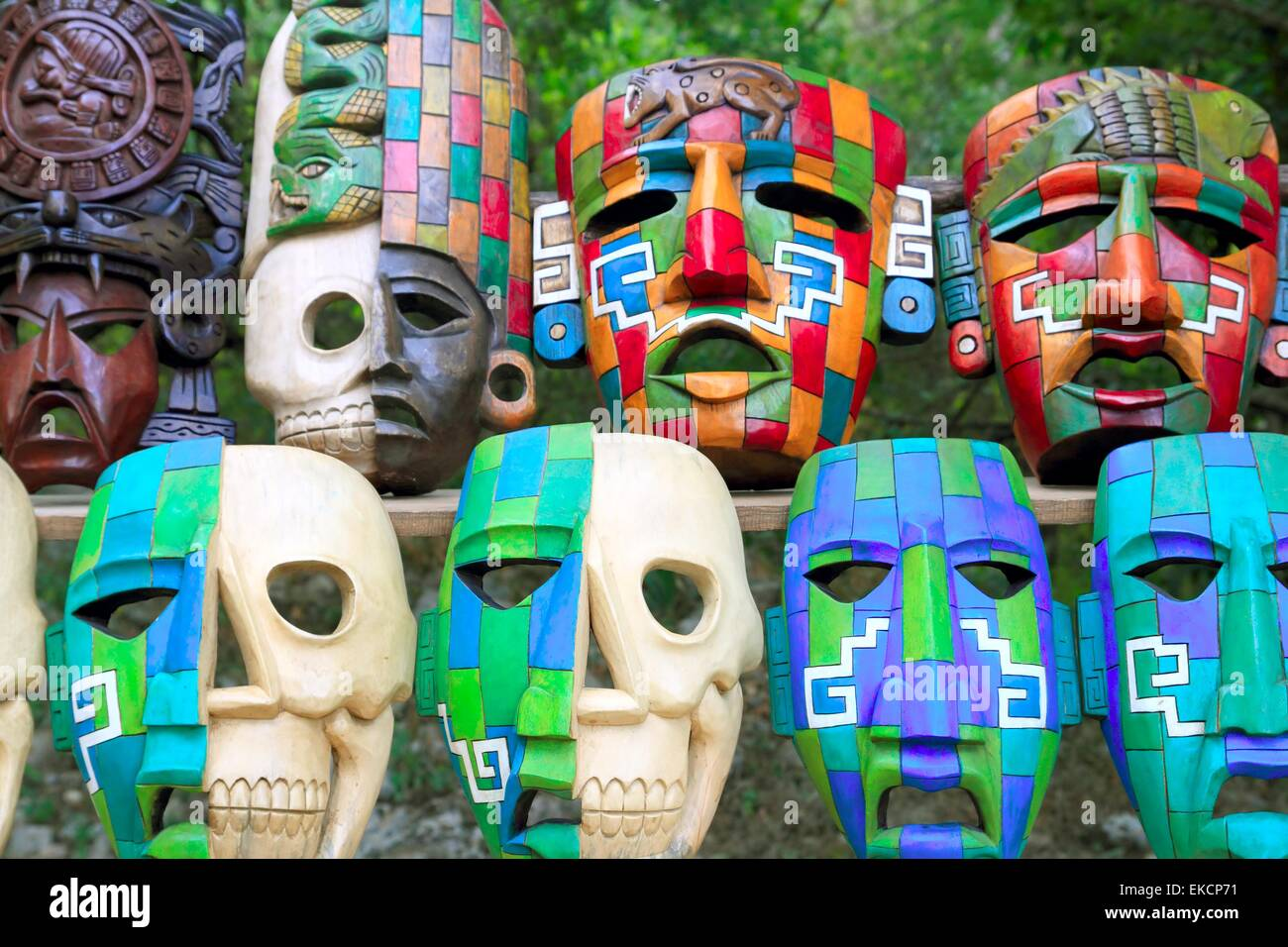 colorful mayan masks indian culture in jungle stock photo royalty