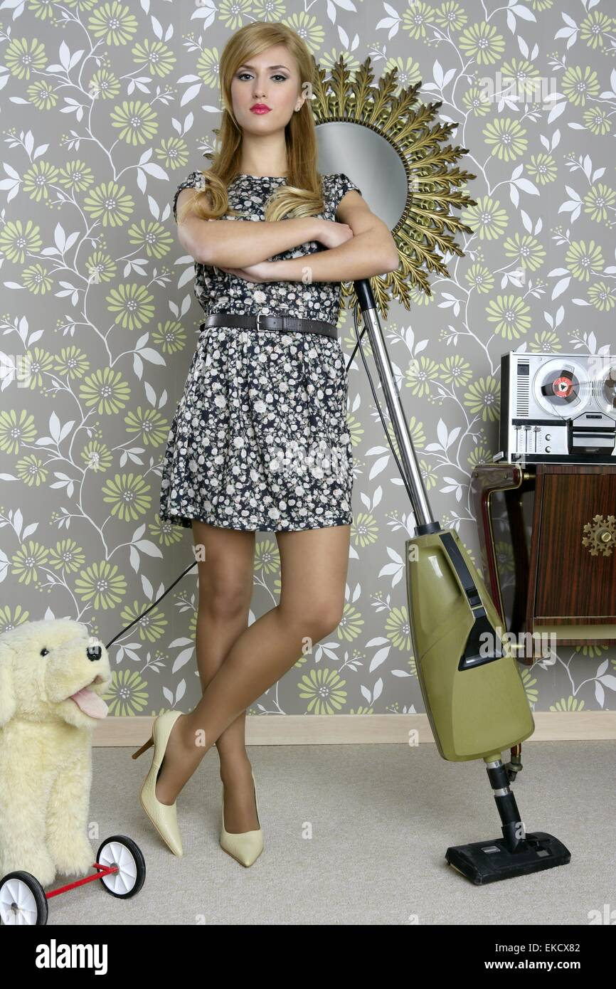 Retro vacuum cleaner woman housewife vintage stock photo for Classic housewife