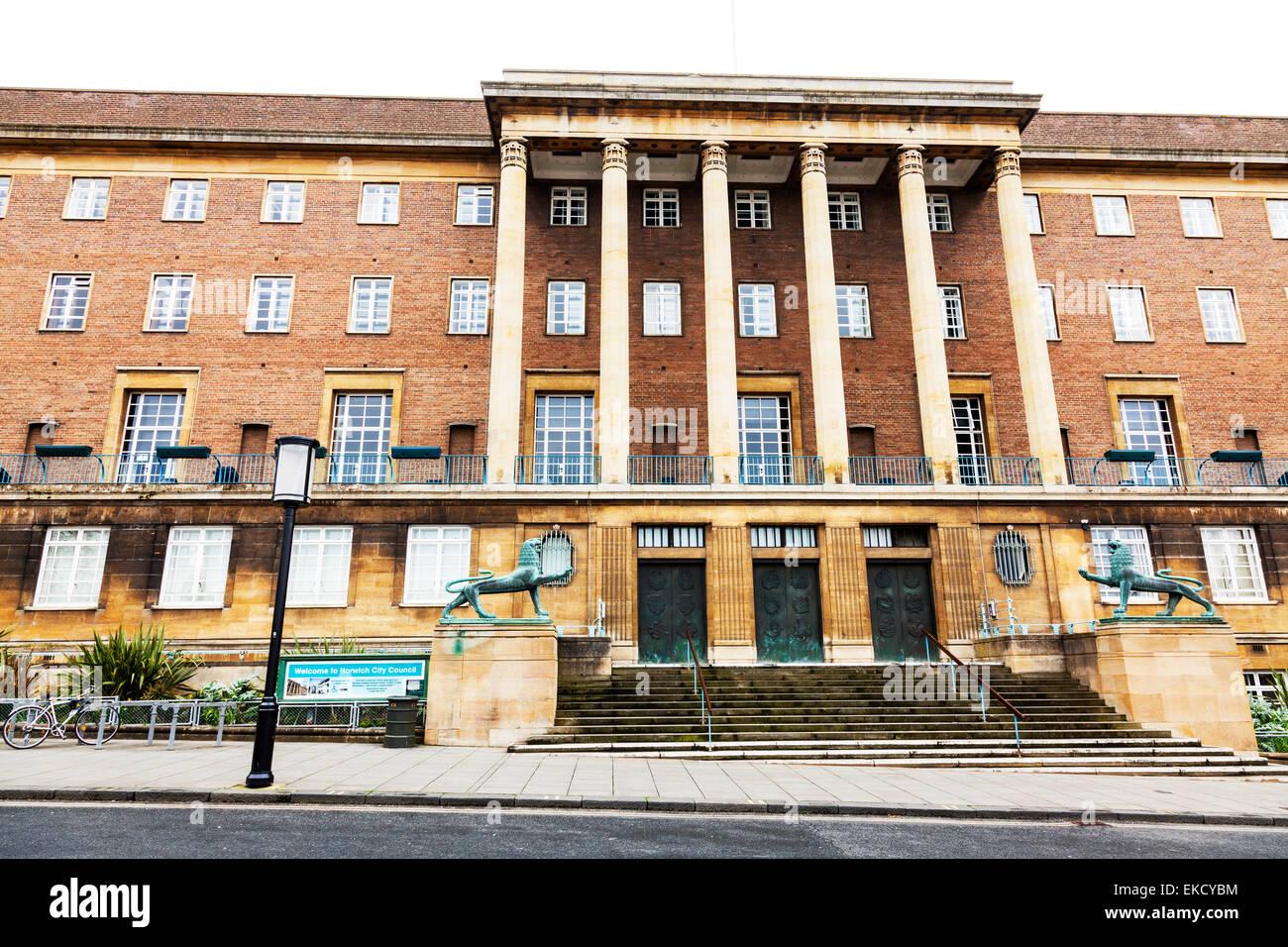 City Apartment Building Entrance. Norwich City Hall council offices building exterior front facade entrance  steps Norfolk UK England
