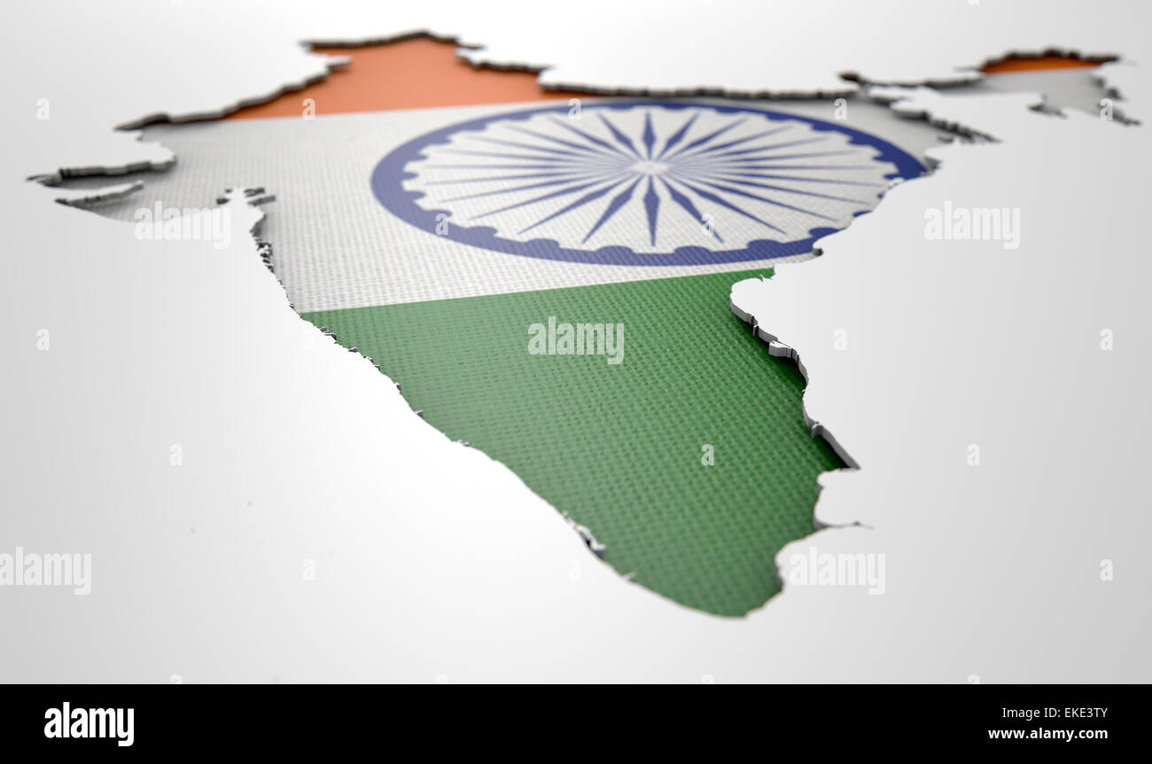 the shape of the country of india in the colours of its national