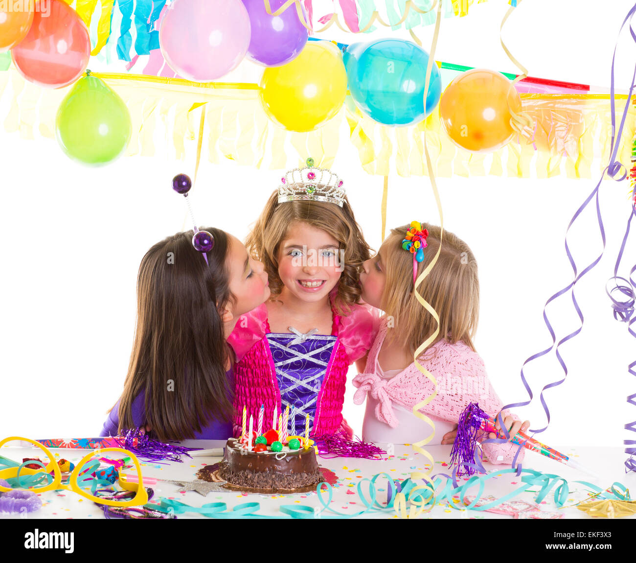 Children Girls Group In Birthday Party Greetings With A Kiss Stock