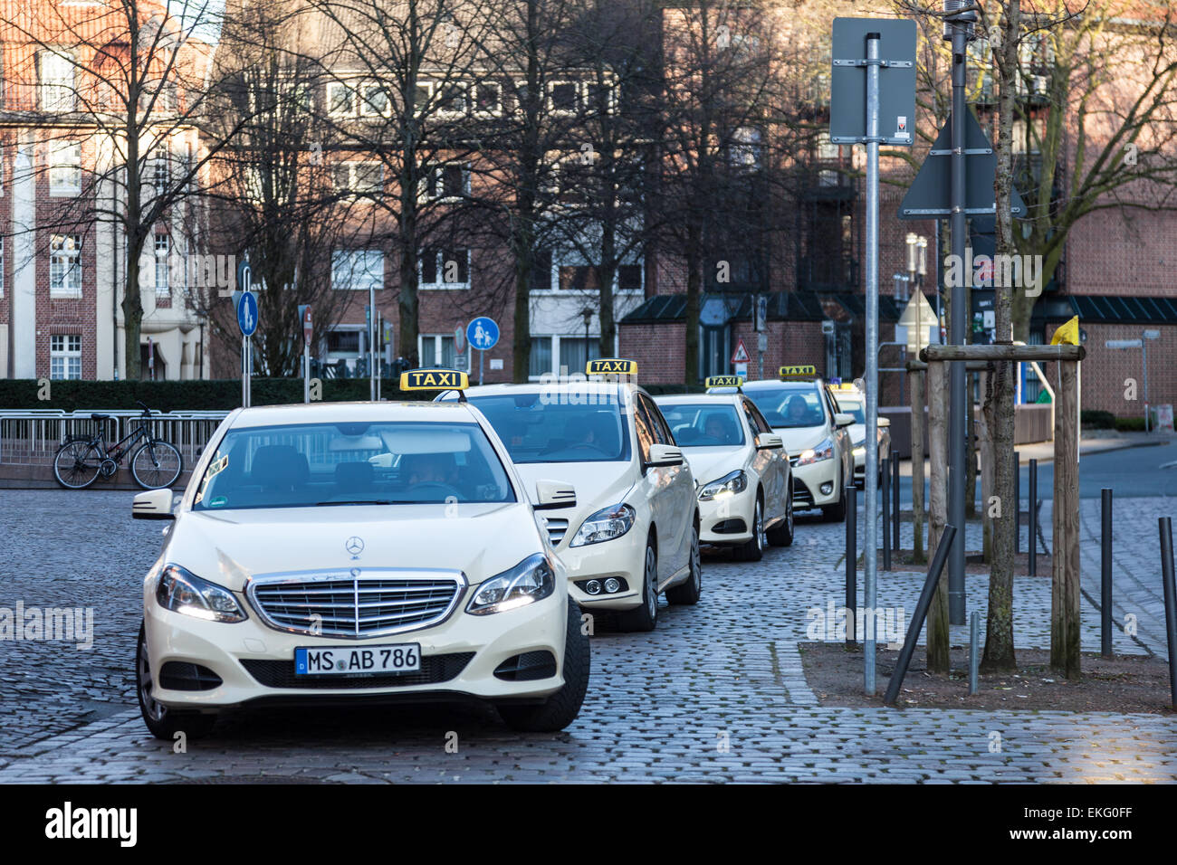 mercedes benz e class taxi cabs at taxi rank in muenster. Cars Review. Best American Auto & Cars Review