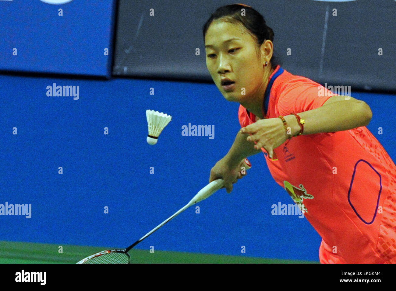 Singapore 10th Apr 2015 Sun Yu of China serves the shuttle cock