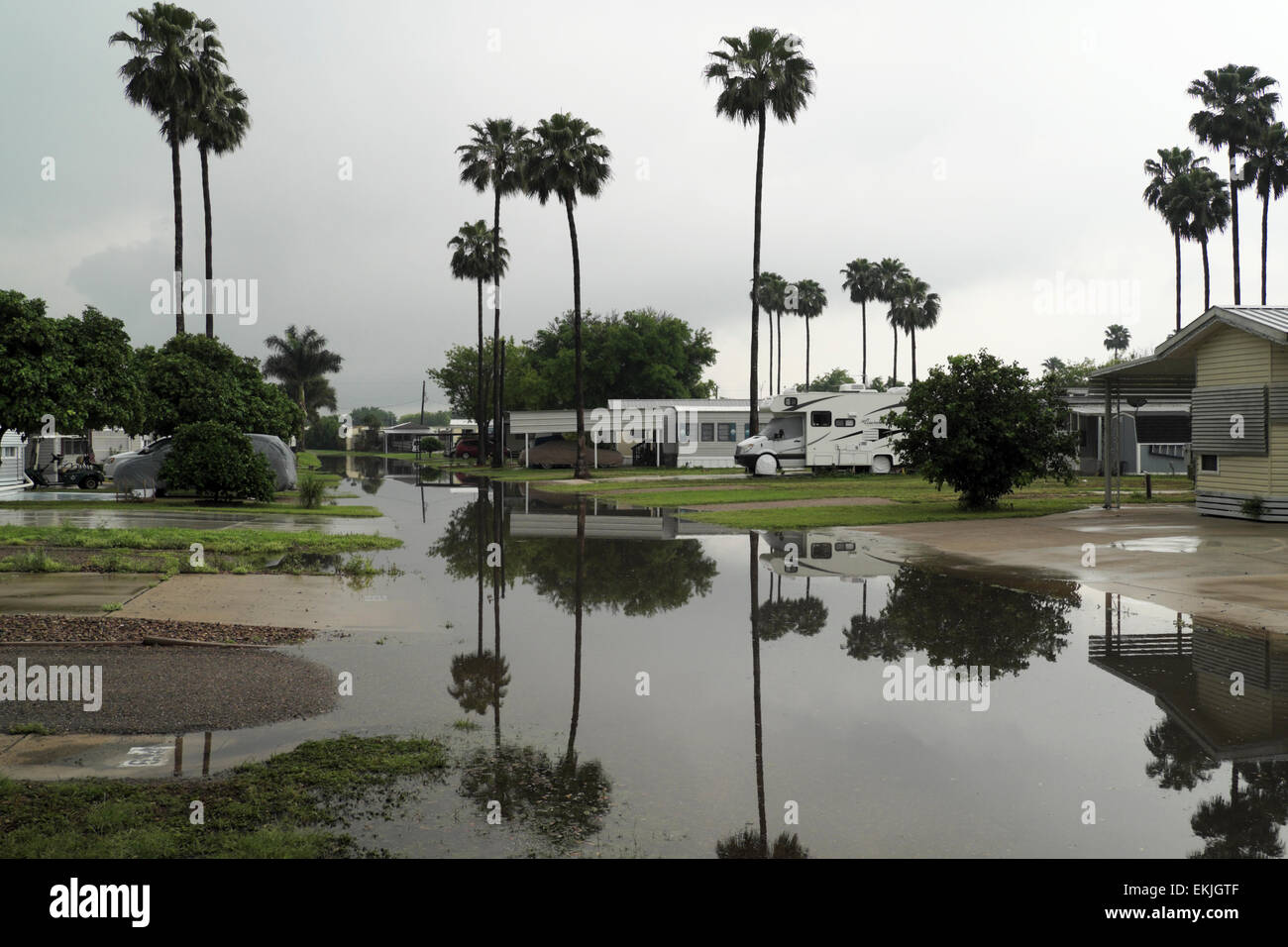 April Flooding In A Mobile Home RV Park Mission Texas USA