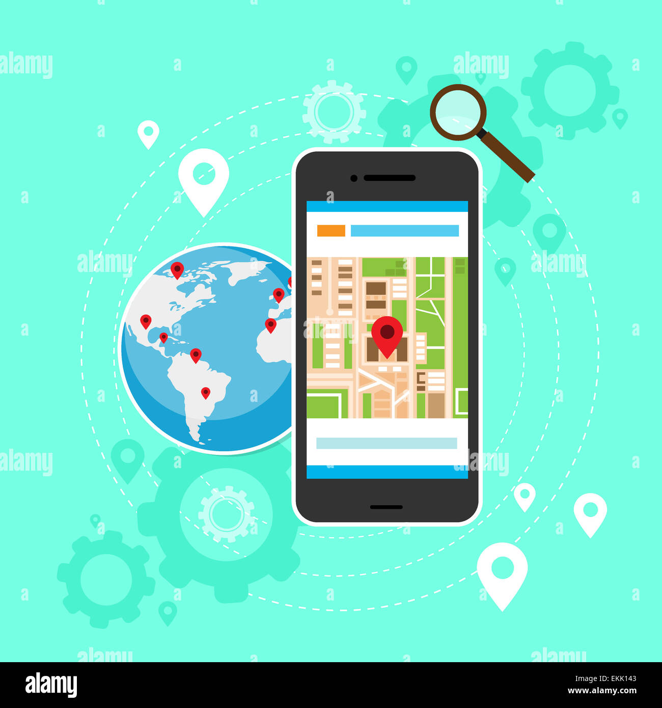 Mobile cell phone world map gps globe navigation stock photo mobile cell phone world map gps globe navigation gumiabroncs Choice Image