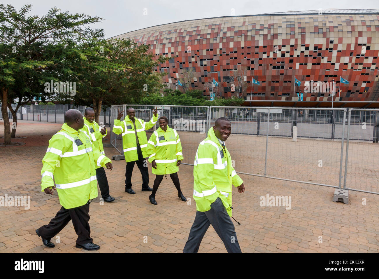 Game for coworkers - Johannesburg South Africa African Nasrec Fnb Soccer City Stadium The Calabash Black Man Woman Security Guards Coworkers Uniform Before Game Football