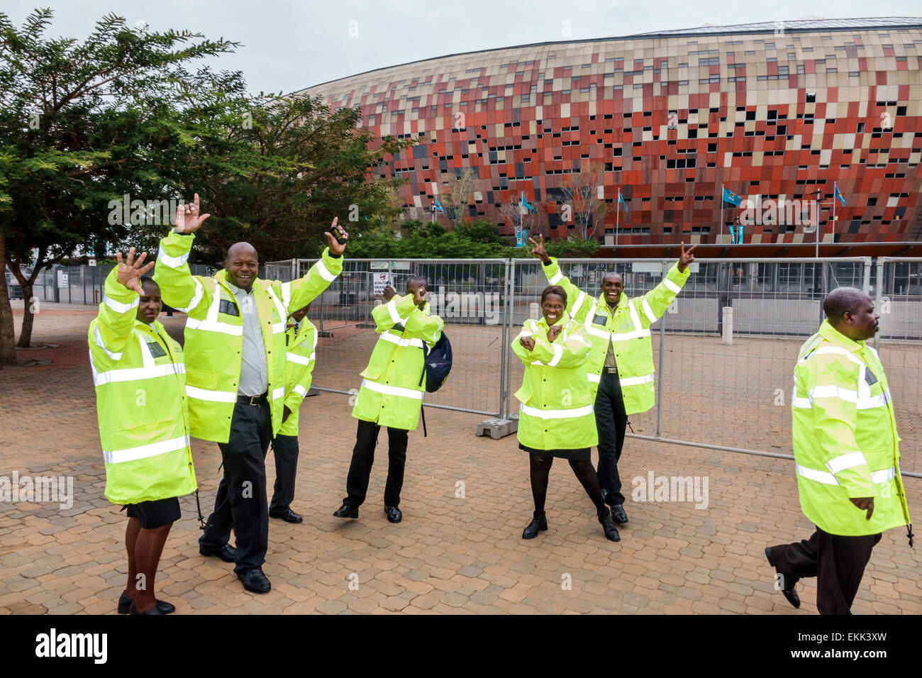 Game for coworkers - Johannesburg South Africa African Nasrec Fnb Soccer City Stadium The Calabash Coworkers Black Man Woman Security Guards Uniform Before Game Football