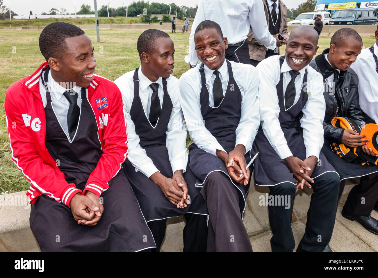 Game for coworkers - Johannesburg South Africa African Nasrec Fnb Soccer City Stadium The Calabash Black Man Coworkers Uniform Before Game Football Servers Waiters