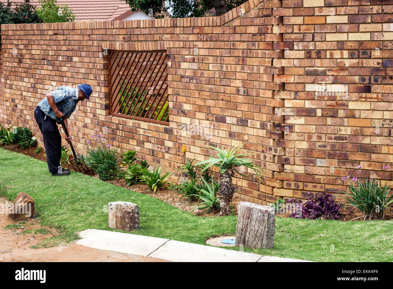 Johannesburg South Africa African Soweto Black Man Gardening Landscape  Landscaping House Home Brick Wall