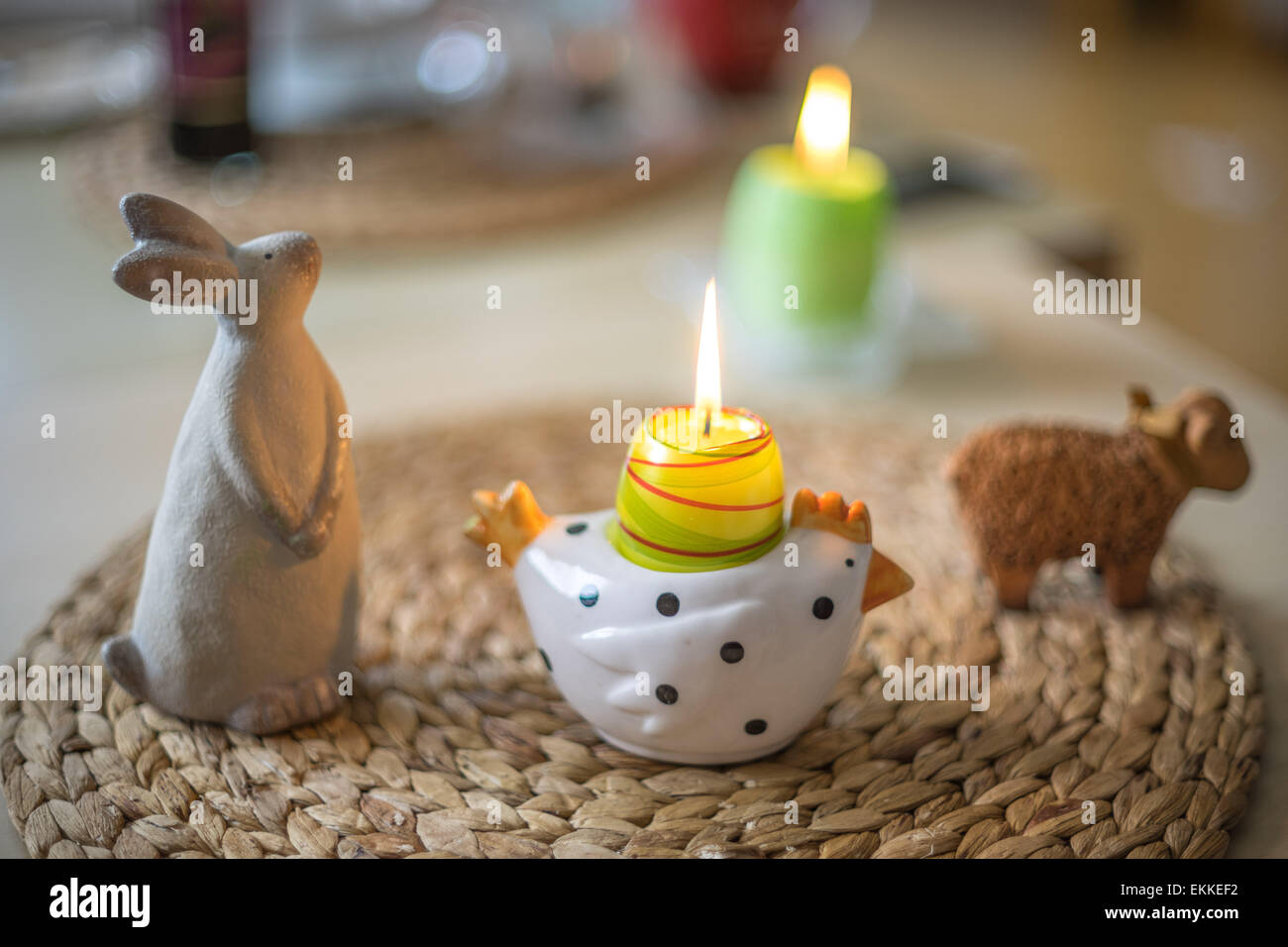 High Quality Easter Lamb Bunny Chicken Figurines And Burning Candles Amazing Pictures