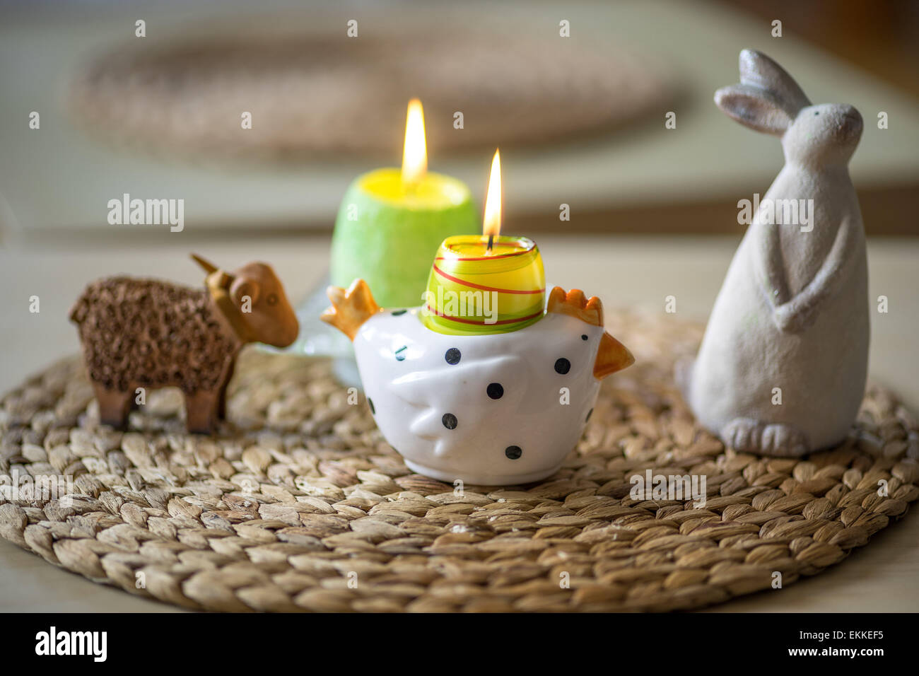 Easter Lamb Bunny Chicken Figurines And Burning Candles Photo Gallery