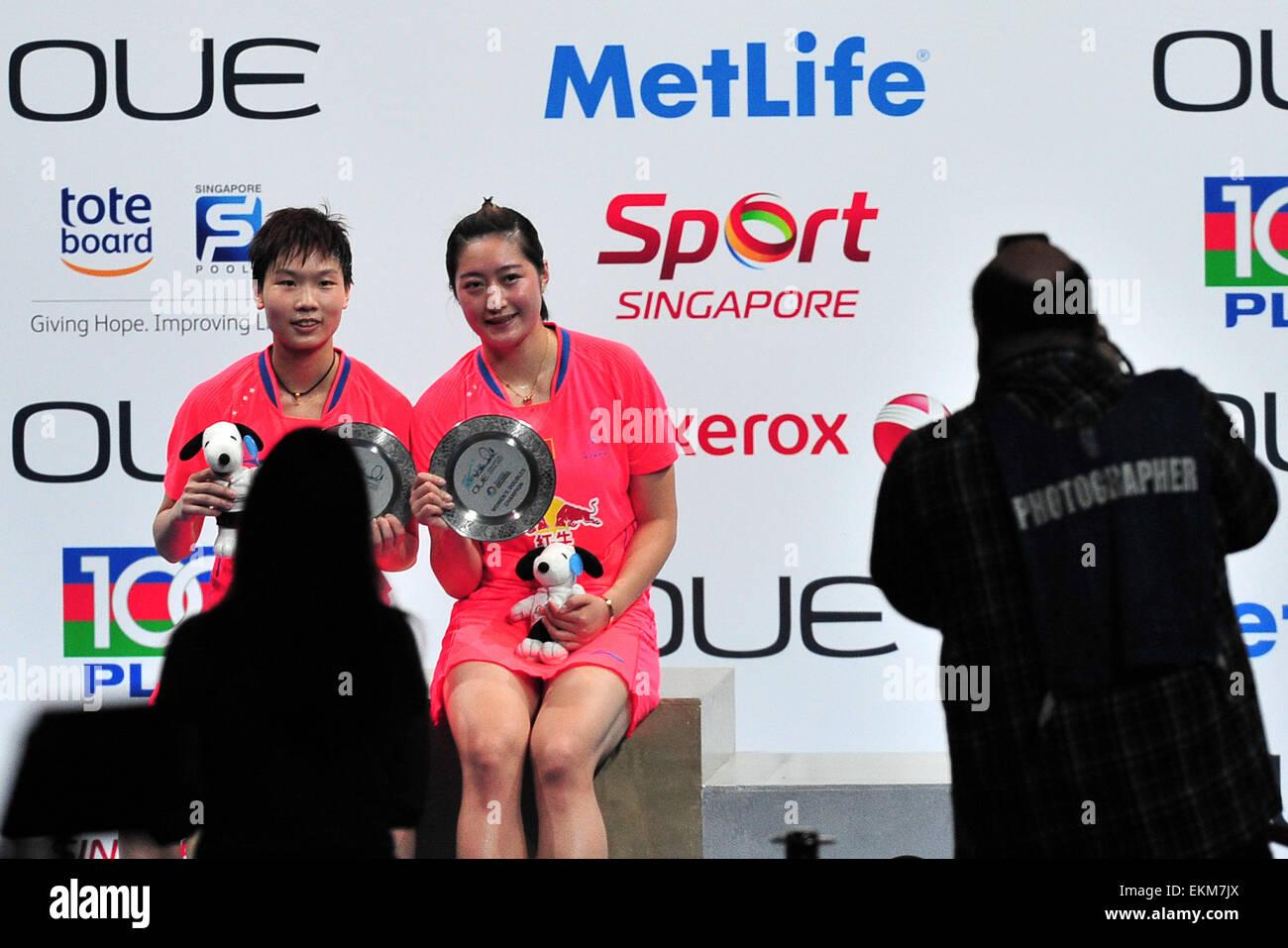 Singapore 12th Apr 2015 Ou Dongni L and Yu Xiaohan of China