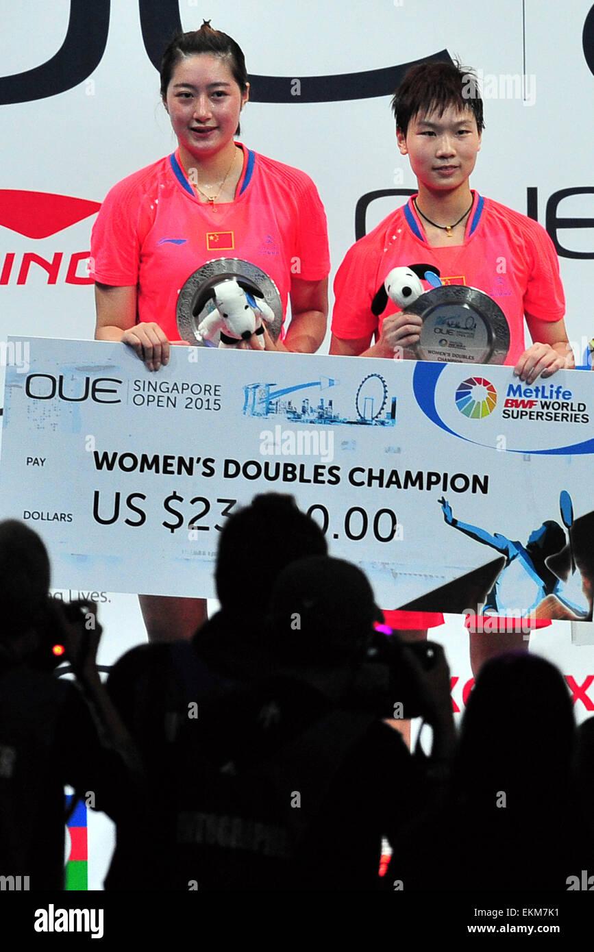 Singapore 12th Apr 2015 Ou Dongni R and Yu Xiaohan of China