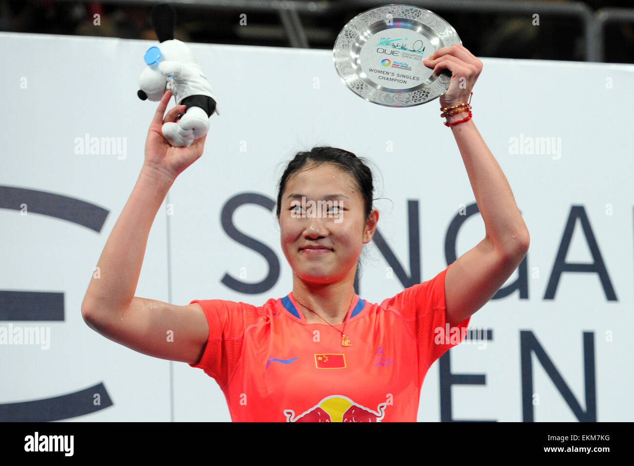 Singapore 12th Apr 2015 Sun Yu of China poses during the