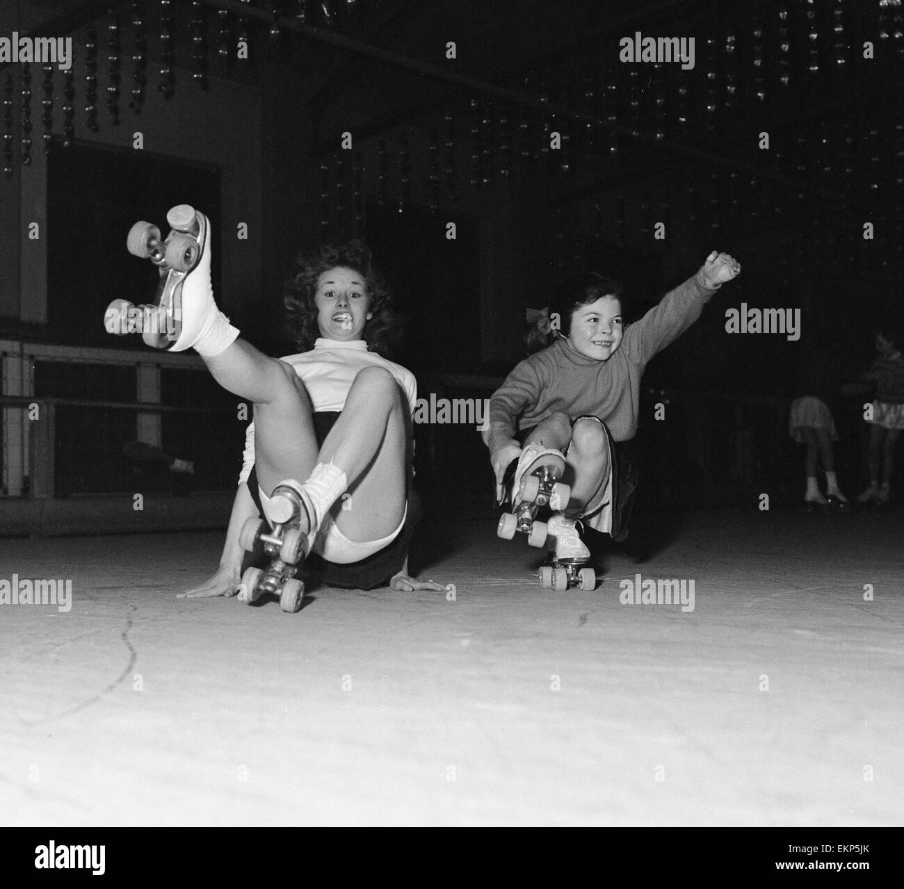 Roller skating rink queen anne - Teenager Betty Jones Pictured Roller Skating With Seven Year Old Anne Morgan At The Rink In