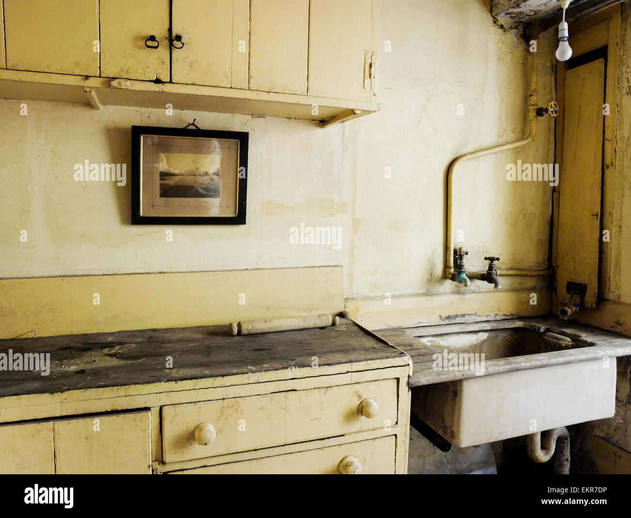 An old fashioned kitchen sink and cupboards stock photo - Old fashioned sinks kitchen ...