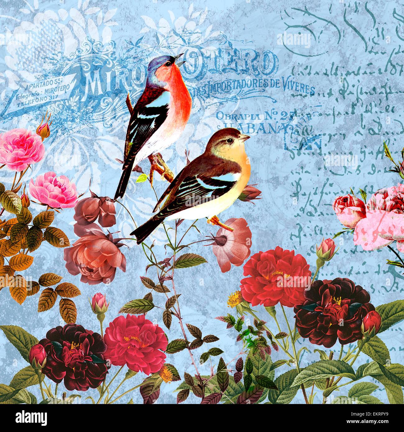 Illustration birds botany graphic flower design - Tessuti fiorati ...