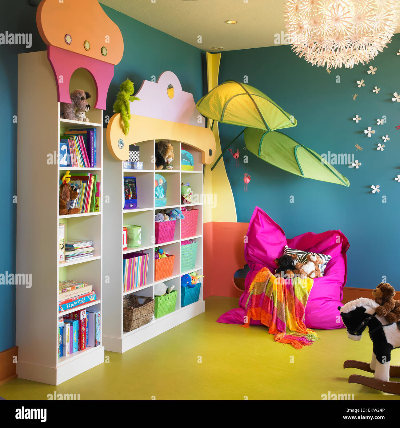 Childs Playroom With Bookshelves Bean Bag Chair And Toys