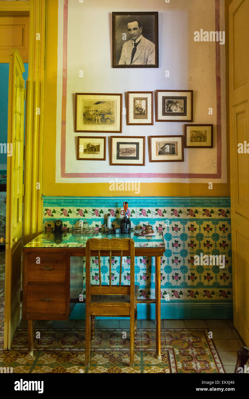 Cuba Trinidad Typical Cuban Home Old Antique Furniture Ornate Walls U0026 Tiles  Desk Chair Family Black White Photos
