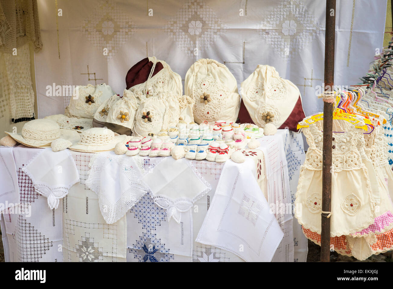 Arts and crafts table linens - Cuba Trinidad Cobbled Street Arts Craft Handicrafts Market Stall Woven Embroidered Crochet Hats Baby Dresses Booties Tablecloths