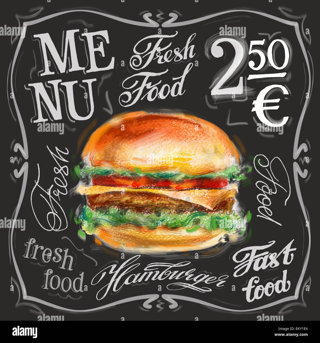 Retro Fast Food Menu Vector Png