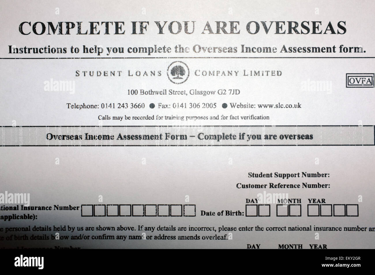 Great An Overseas Income Assessment Form Sent By The Student Loans Company Limited Throughout Income Assessment Form